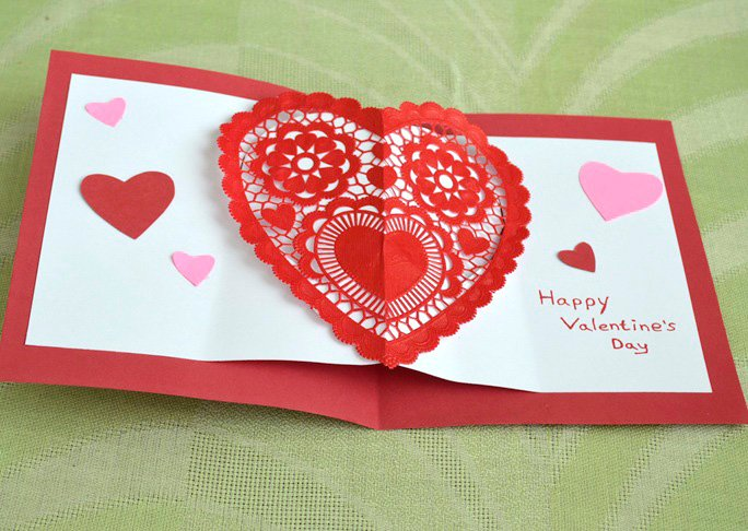 Valentines day greeting card heart tecstar homemade heart pop up card craft m4hsunfo