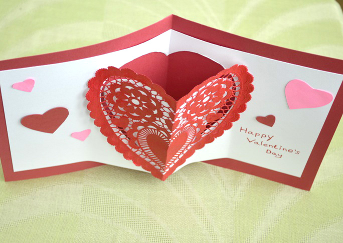 Heart PopUp Valentines Day Card Craft – Pop Up Valentines Day Card