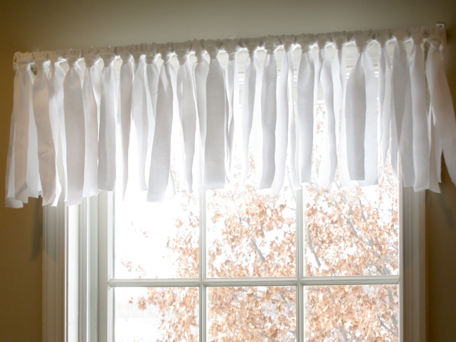 homemade white sheer window valance