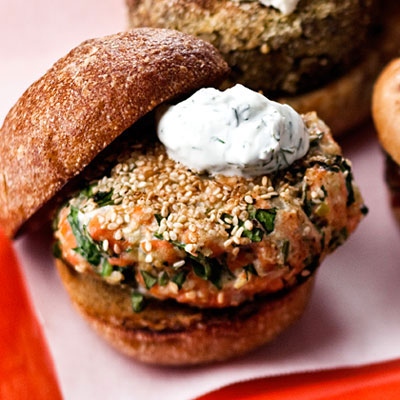 Sesame Seed Crusted Salmon Burger
