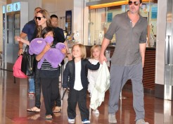 Photos: Angelina Jolie and Brad Pitt Arrive In Japan With Their Kids
