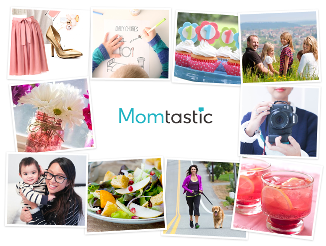 Momtastic collage showing all the genres we cover from diy and crafts to food recipes and mom hacks