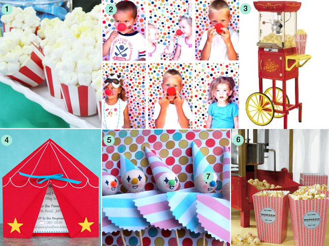 circus party, Party invitations