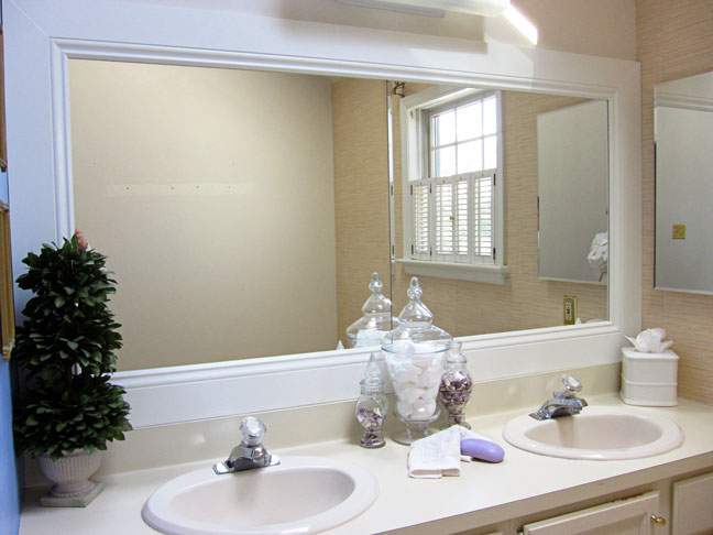 Framing Bathroom Mirror Over Metal Clips how to frame a bathroom mirror
