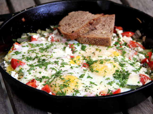 Skillet Egg Bake with Leeks, Swiss Chard, and Feta Recipe
