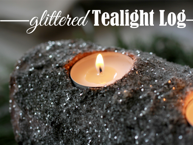 Glittered Tea Light Log