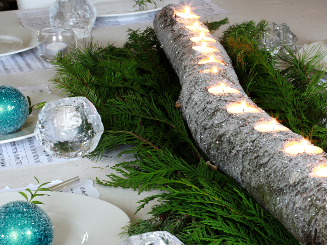Glittered Tea Light Log - Step 6