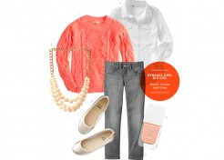 Big Girl Style: A Peach, Cream, and Gray Outfit