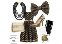 Holiday Outfit Ideas for Mom – Gold and Black