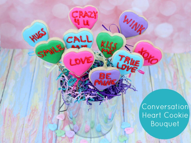 conversation heart cookie bouquet