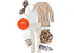 Big Girl Outfit: Tan, White, Cream, Silver, Gray