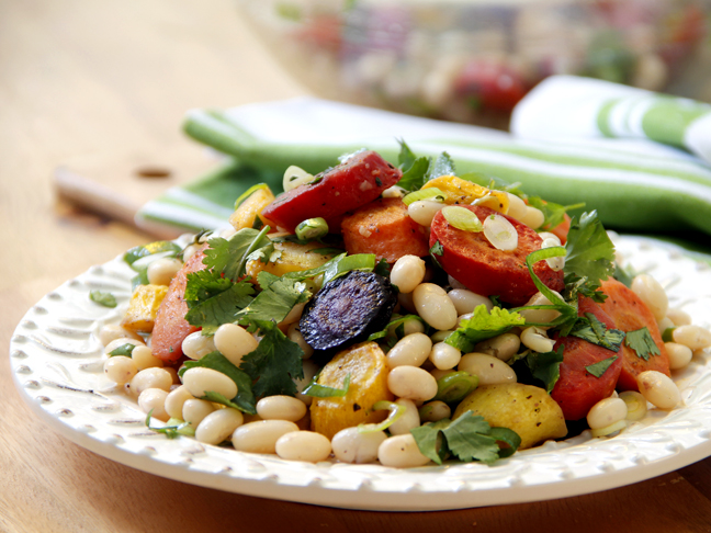 White Bean Salad with Roasted Rainbow Carrots