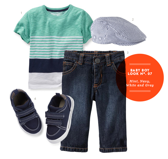 Baby Boy Outfit in Mint, Navy, White, and Gray from The Kids' Dept. for Momtastic