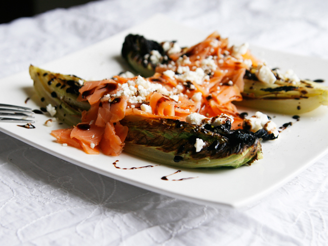 Roasted Romaine Salad with Smoked Salmon and Feta