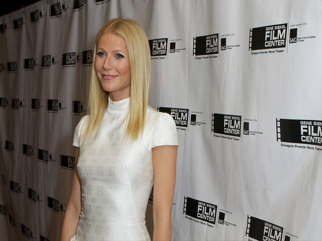 Gwyneth Paltrow in a capped white dress on the red carpet