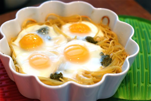 Baked Eggs in Pasta