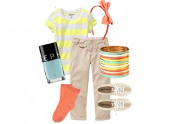 Big Girl Style: Coral, Yellow, White, Aqua, Gold, and Khaki
