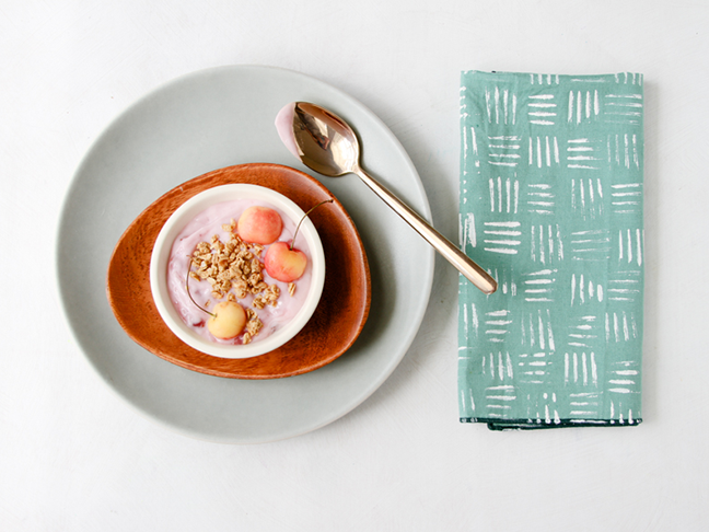 Stamped Napkins DIY Using a Plastic Fork to Create Hash Marks