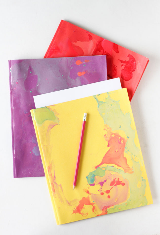 Back to School DIY // Marbled Folders