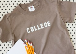 "DIY ""College"" Iron on Tees for Kids"