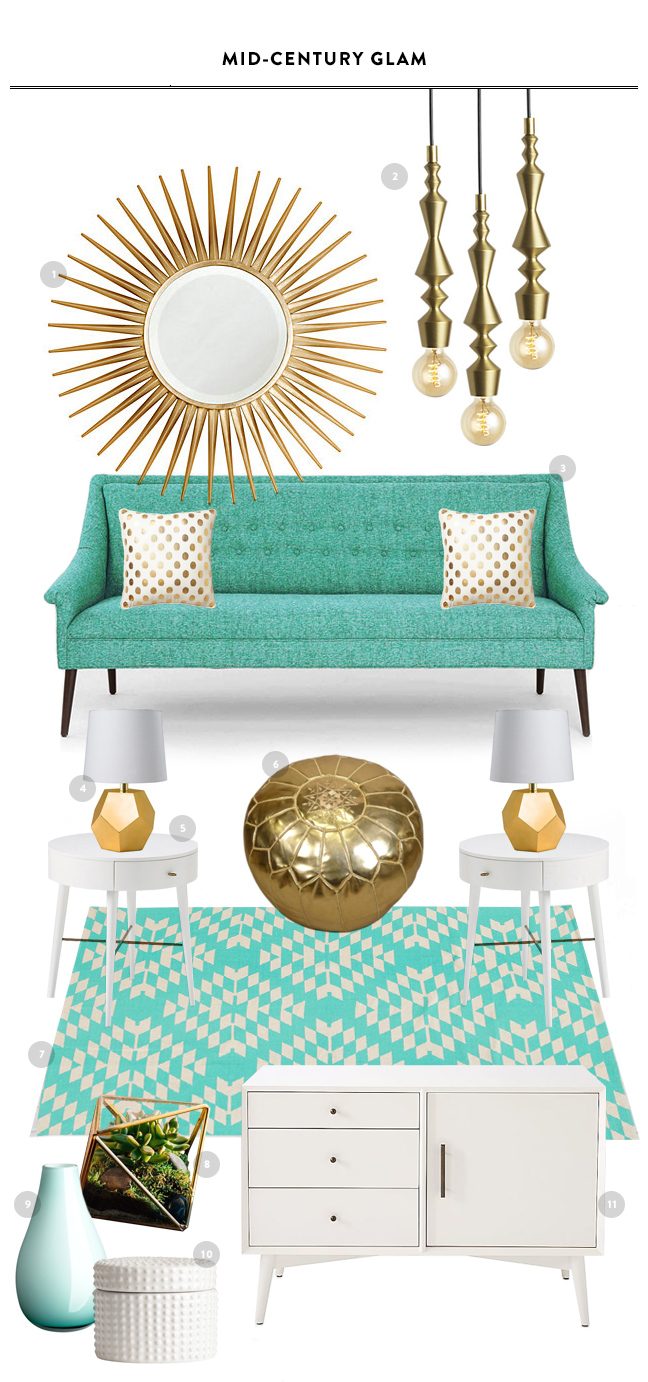 Mid Century Glam Living Room Inspiration