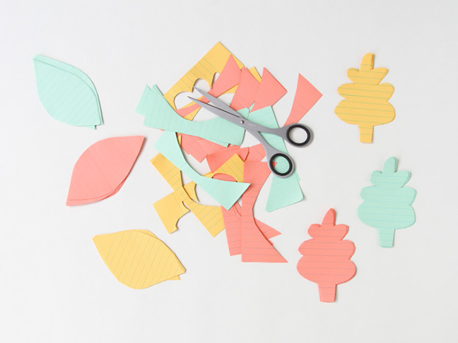 Cut leaves out of colourful paper