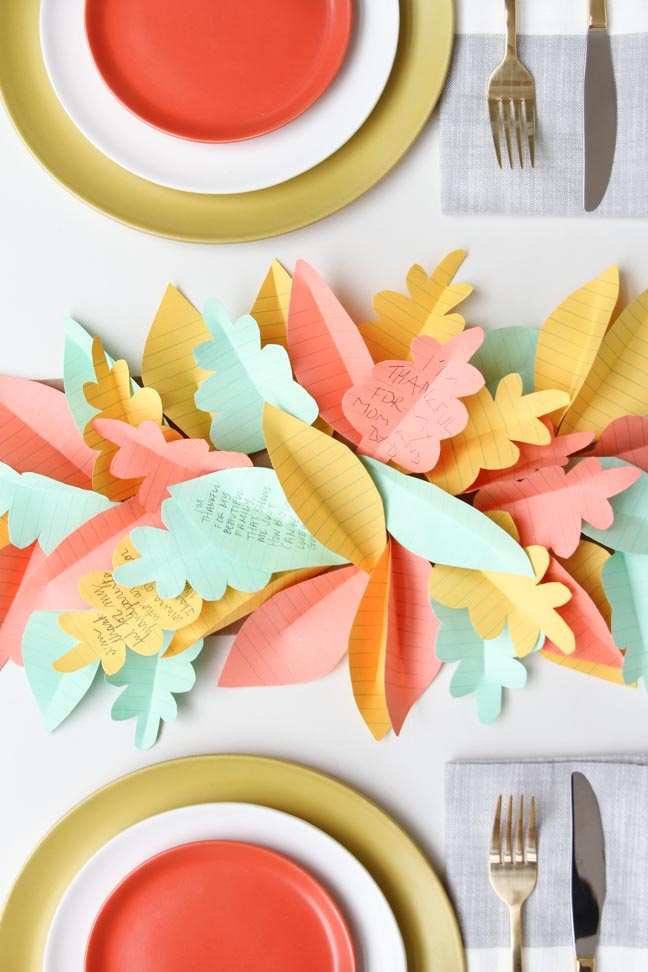 Thanksgiving DIY // Paper Leaf Table Runner