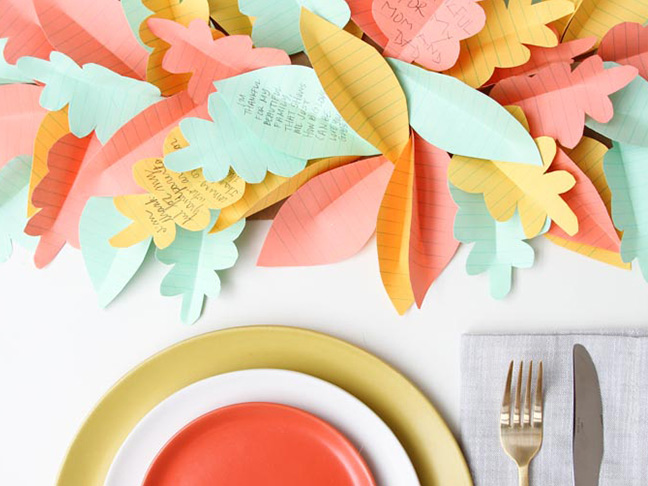 Paper Leaf Table Runner for Thanksgiving