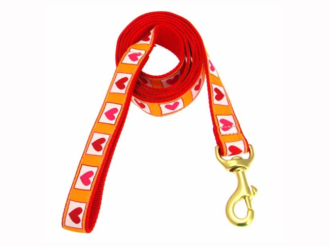 9 hot hearts dog leash
