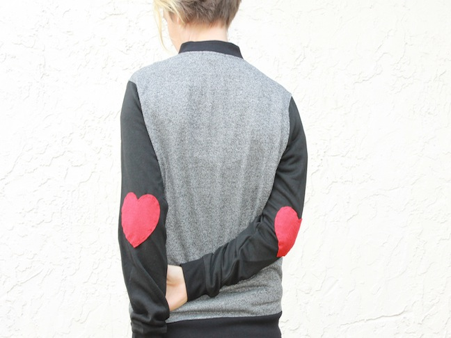 woman wearing heart elbow jacket diy