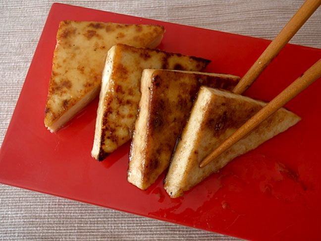 tofu triangles chopsticks