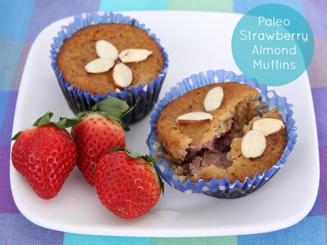 paleo strawberry almond muffin recipe caption