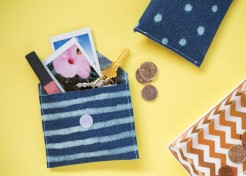 DIY Bleach Patterned Fabric Coin Pouches