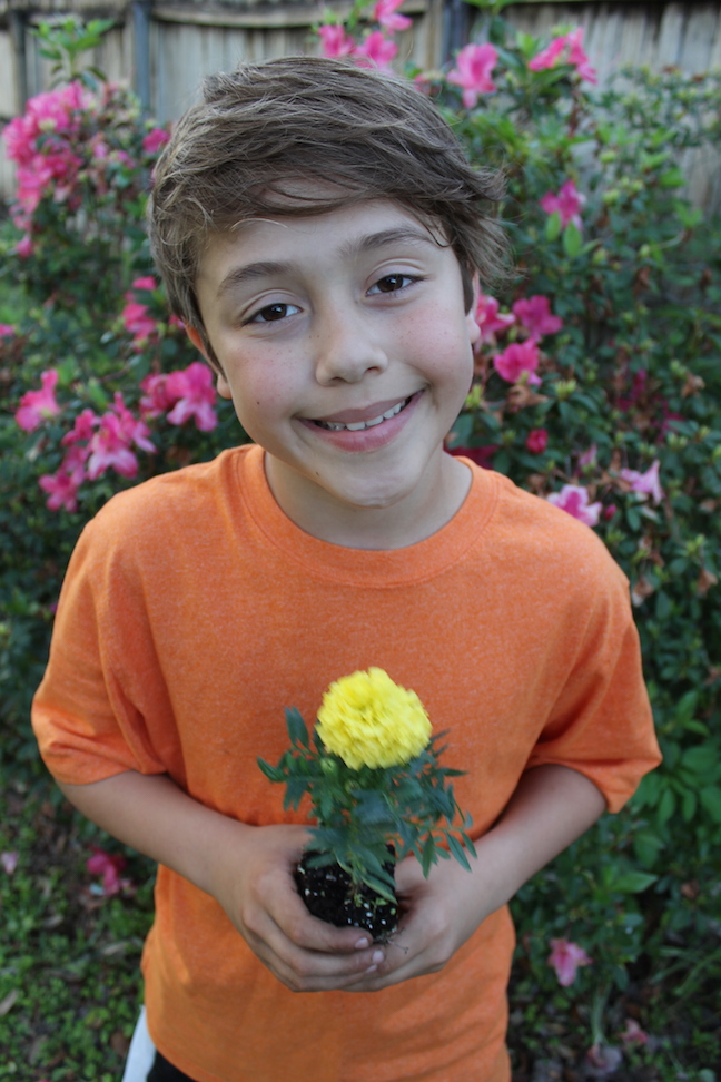boy holding a flower