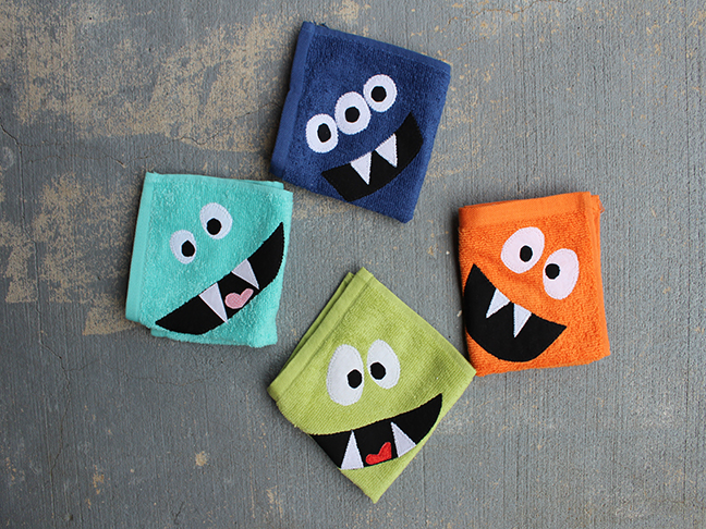 monster face wash cloths
