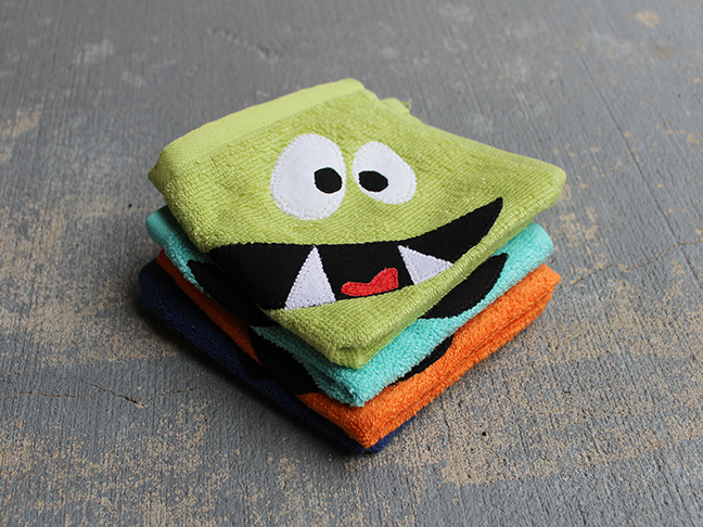 monster face wash cloth green
