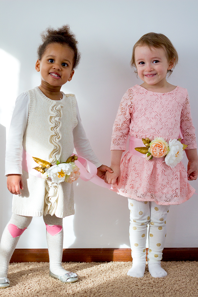 two girls floral sashes