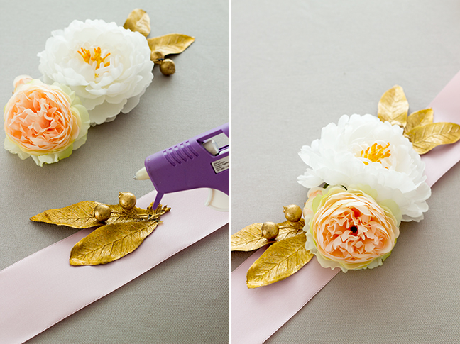 gold leaves silk flowers ribbon