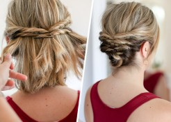 Quick Messy Updo for Shorter Hair
