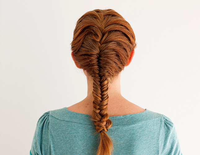 fishtail braid red hair