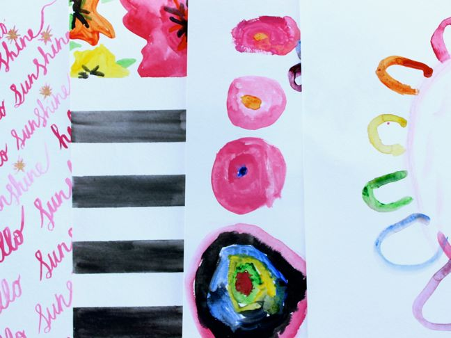 diy-watercolor-pink-hostess-gift-kids-art-paint-black-white-stripes-circles-flower