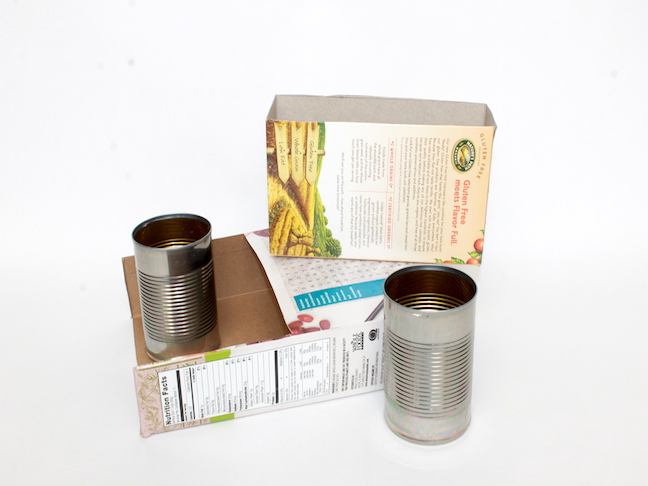 DIY Homework Station: tin cans, boxes