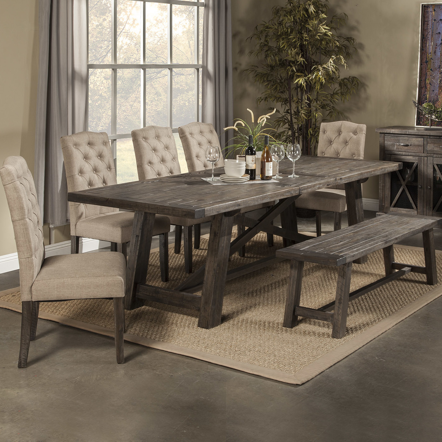 Rustic Dining Room Tables With Bench. Best Dining Set For Family
