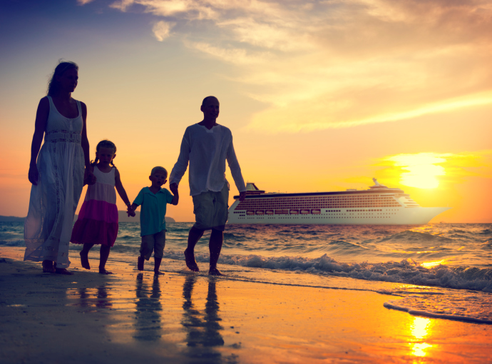 Family Children Beach Cruise Ship Relaxation Concept
