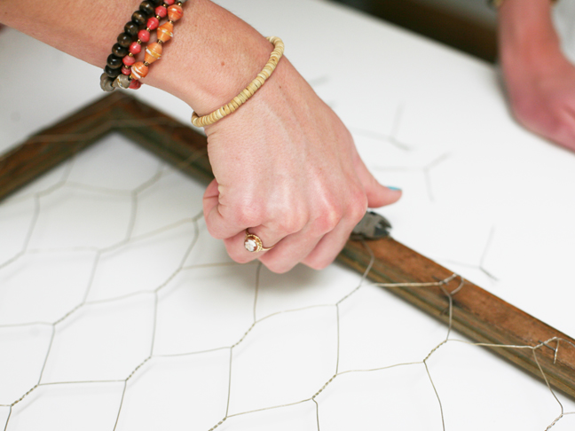 clipping off extra chicken wire
