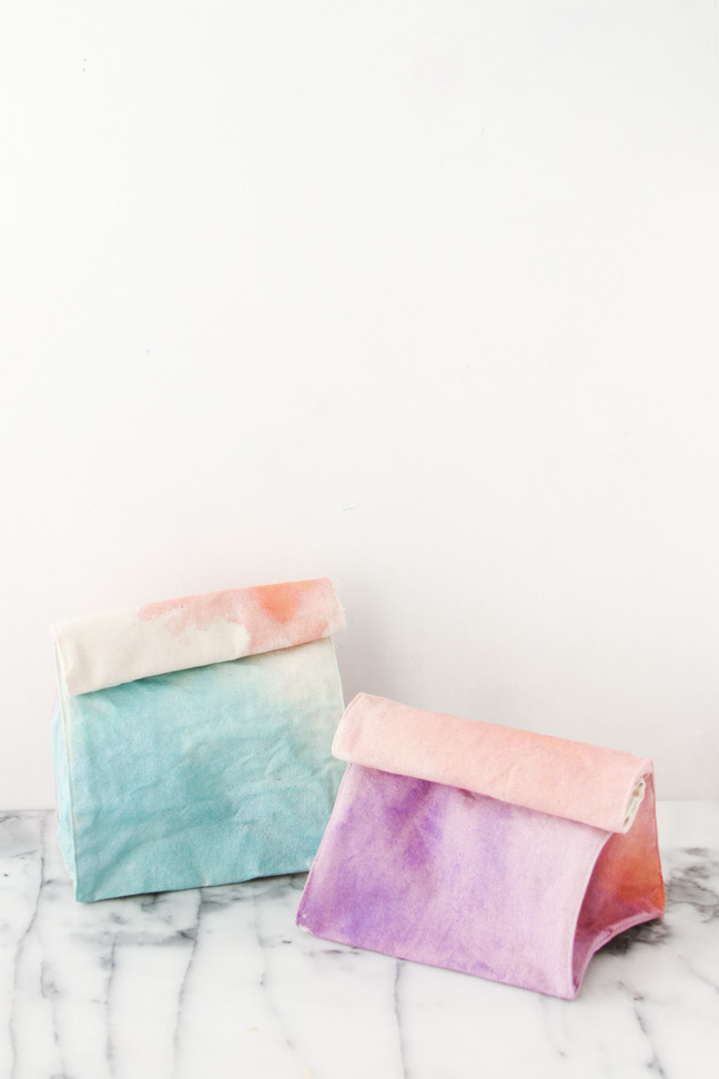 DIY Watercolor Lunch Bags