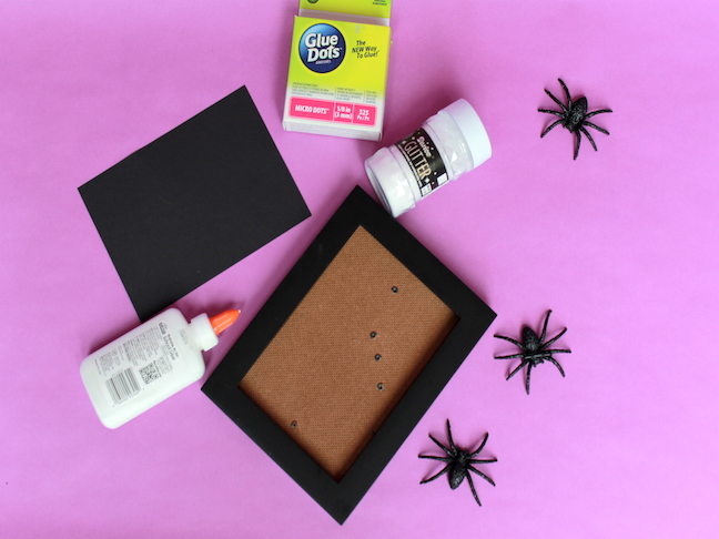 Frame Supplies glitter spiders, glue, glitter, glue dots