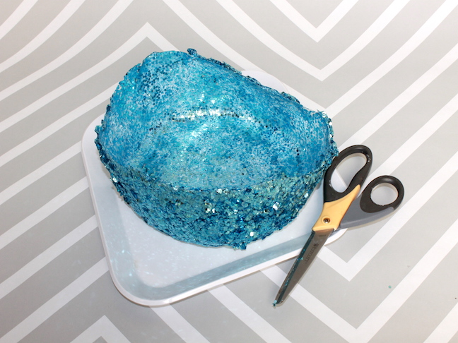 Step6 cutting the edge of a blue glitter bowl