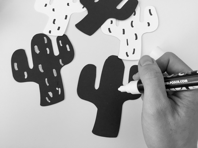 DIY: black and white cactus garland kids craft