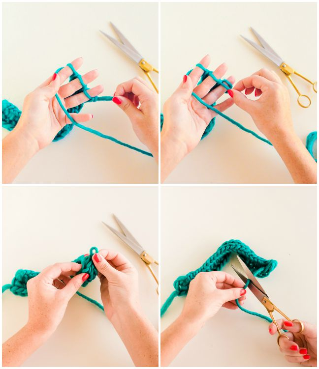 step by step instructions for fingerknitting garlands